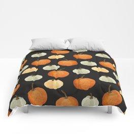 Orange yellow gray black watercolor pumpkin pattern Comforters