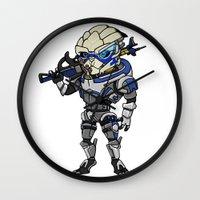 garrus Wall Clocks featuring Mass Effect 3: Garrus Vakarian Chibi by SushiKitteh'sCreations