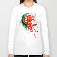 portugal Long Sleeve T-shirts featuring football Portugal  by seb mcnulty