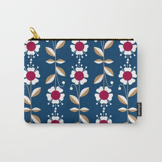 Blue floral pattern . Carry-All Pouch