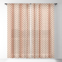 Palm Symmetry - Orange Sheer Curtain