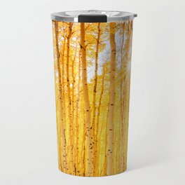 Aspens Of Autumn Colorado Landscape Sun Through Trees Travel Mug