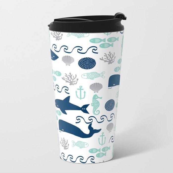 Nautical ocean animals sharks whales seahorses wave pattern sea life Metal Travel Mug