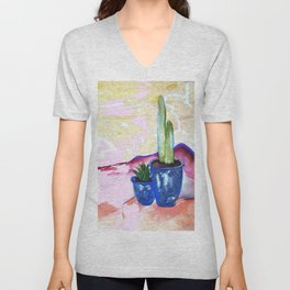 Porch Cactus Vibes - Watercolor Painting Mixed Media Unisex V-Neck