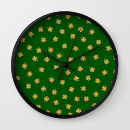 Golden Shamrocks Green Background Wall Clock