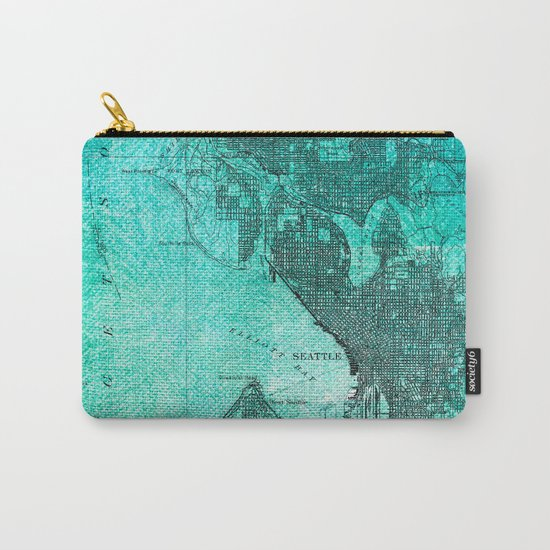 Turquoise Seattle Map Design Carry-All Pouch