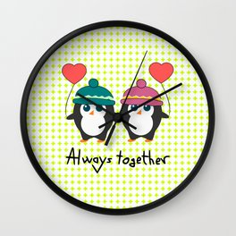 Cute penguins always together Wall Clock