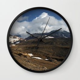 Panoramic view of fumaroles activity active volcano on Kamchatka Peninsula Wall Clock