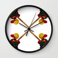 duck Wall Clocks featuring duck by Кaterina Кalinich