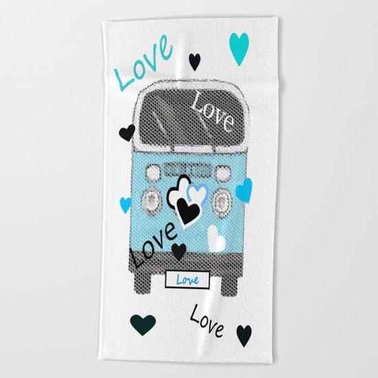 Love Bus Beach Towel