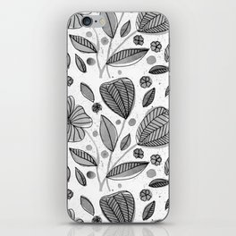 Black and white watercolor flowers iPhone Skin