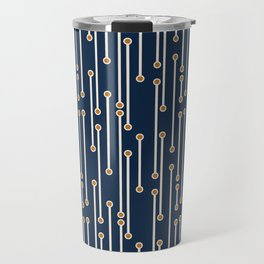Dotted Lines in Navy, Cream and Orange Travel Mug