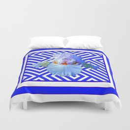 CONTEMPORARY BLUE & WHITE PATTERN IRIS PATTERN Duvet Cover