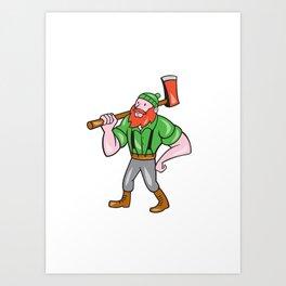Paul Bunyan LumberJack Isolated Cartoon Art Print