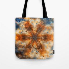 Surreal butterflies on corrugated iron mandala Tote Bag