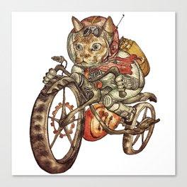 Berserk Steampunk Motorcycle Cat Canvas Print
