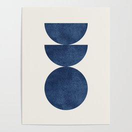 Woodblock navy blue Mid century modern Poster
