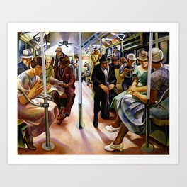 American Masterpiece 'Subway Riders' portrait painting by Lily Furedi Art Print