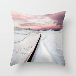 winding road in iceland Throw Pillow