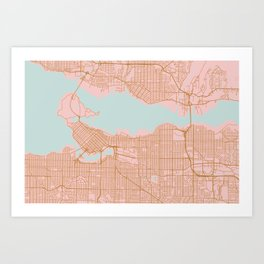 Pink and gold Vancouver map, Canada Art Print