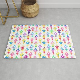 Rainbow Watercolor Rocket Ship Pattern Rug