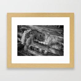 B and W Goat Framed Art Print