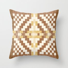 Southwestern Desert Shabby Geometric Bitmap Pattern Golden Yellow Tobacco Brown Throw Pillow