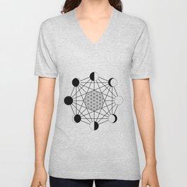 moon phase crystal grid Unisex V-Neck