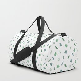 Green Tropical Leaf on White. Exotic Floral Doodles Spring Pattern Duffle Bag