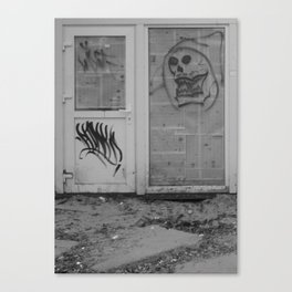Death's newspaper booth Canvas Print
