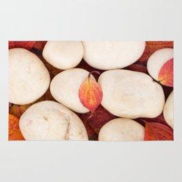 Autumn Still Life - White Stones Red Leaves #decor #society6 #buyart Rug