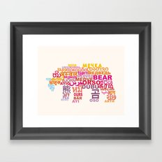 Bear in Different Languages Framed Art Print