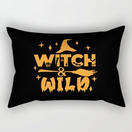 Witch & Wild Hat Broom Bromstick Halloween Rectangular Pillow