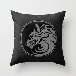 Gray and Black Growling Wolf Disc Throw Pillow