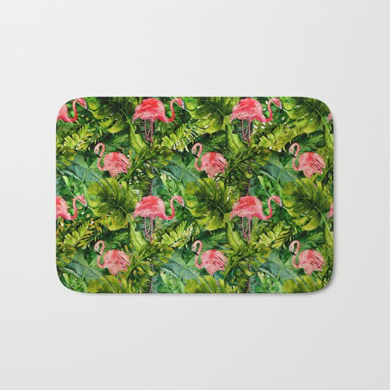 Aloha- Tropical Flamingo Bird and Palm Leaves Garden Bath Mat
