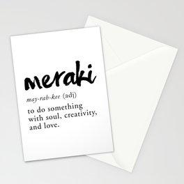 Meraki Word Nerd Definition - Minimalist Typography Stationery Cards