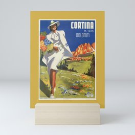 Vintage Italian Alps Cortina summer travel Mini Art Print