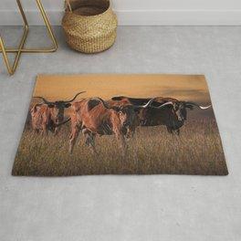 Texas Longhorn Steers on the Prairie at Sunset Rug