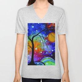 """Winter Sparkle"" Original Whimsical Contemporary Painting, Art by Megan Duncanson MADART Unisex V-Neck"