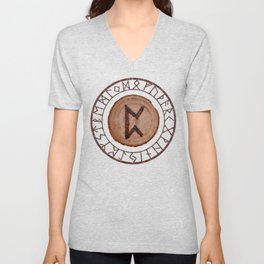 Perthro Elder Futhark Rune of fate and the unmanifest, probability, luck, nothingness, the unborn Unisex V-Neck