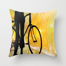 Golden Bike Ride Throw Pillow