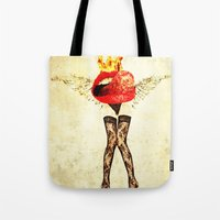 lips Tote Bags featuring Lips by Alec Goss