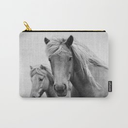 Horses - Black & White Carry-All Pouch