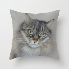 Tabby cat Maine Coon portrait Pastel drawing on the grey background Throw Pillow