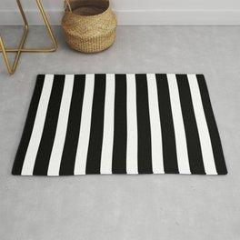 Wide Horizontal Stripe: Black and White Rug