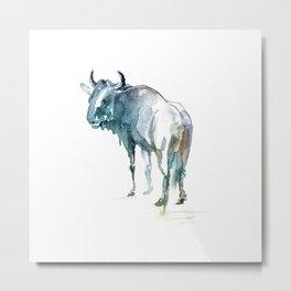 Wildebeest / Abstract animal portrait. Metal Print