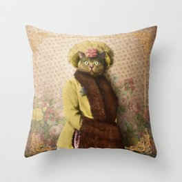 Lady Vanderkat with Roses Throw Pillow