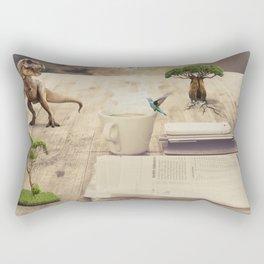 A dinosaur on the table Rectangular Pillow