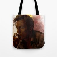 true detective Tote Bags featuring True Detective : Rust Cohle  by p1xer