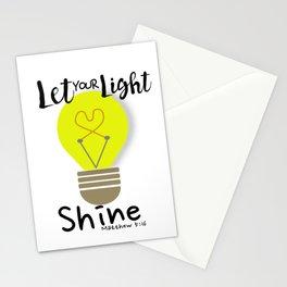 Let Your Light Shine Lightbulb Bible Verse Matthew 5:16 Stationery Cards